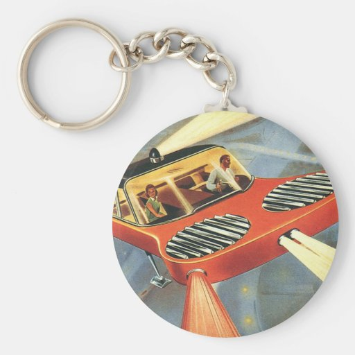 Vintage Science Fiction Futuristic Flying Car Basic Round Button Keychain