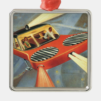 Vintage Science Fiction Futuristic Flying Car Metal Ornament