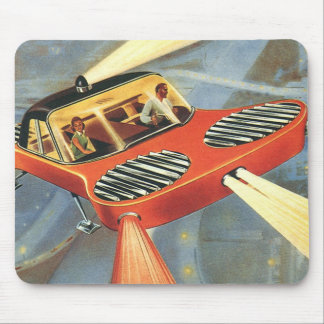 Vintage Science Fiction Futuristic Flying Car Mouse Pad