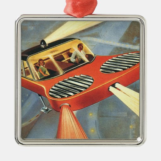Vintage Science Fiction Futuristic Flying Car Square Metal Christmas Ornament