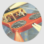 Vintage Science Fiction Futuristic Flying Car Round Sticker