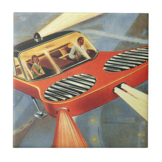 Vintage Science Fiction Futuristic Flying Car Tile
