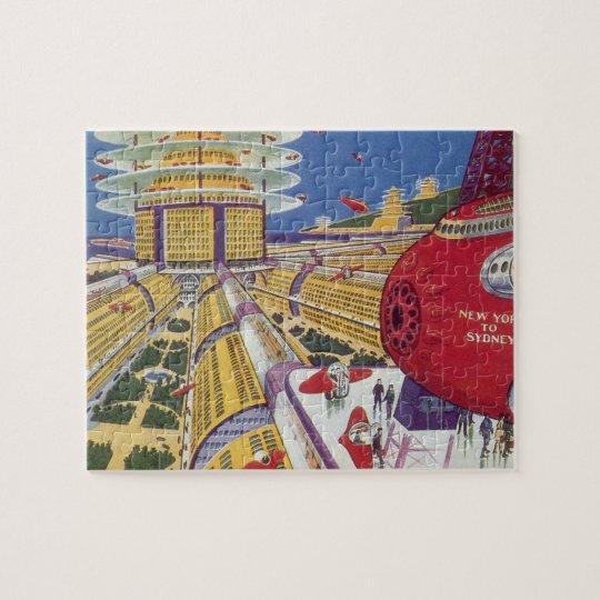 Vintage Science Fiction, Futuristic New York City Jigsaw Puzzle