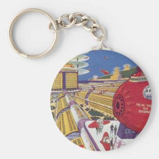 Vintage Science Fiction Futuristic New York City Basic Round Button Keychain