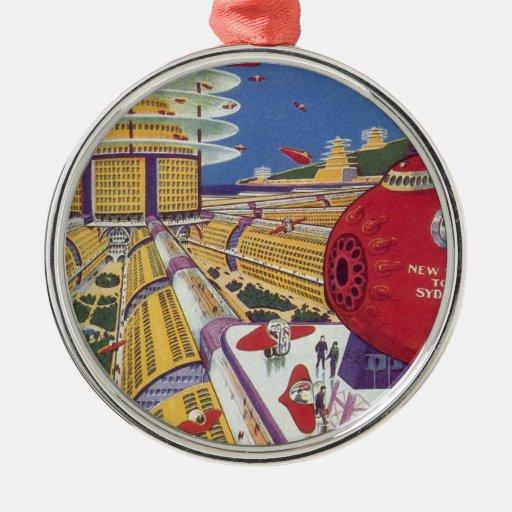 Vintage Science Fiction, Futuristic New York City Metal Ornament