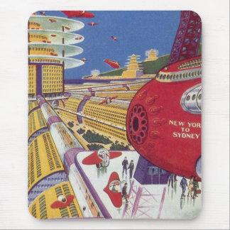 Vintage Science Fiction, Futuristic New York City Mouse Pad