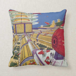 Vintage Science Fiction, Futuristic New York City Throw Pillow