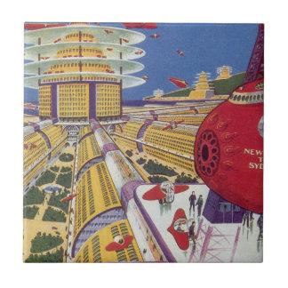 Vintage Science Fiction Futuristic New York City Tile