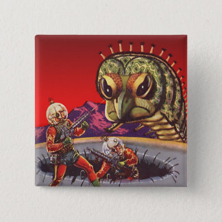 Vintage Science Fiction Giant Centipede Insect War Pinback Button
