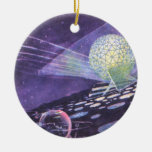 Vintage Science Fiction Glowing Orb with Aliens Christmas Ornament