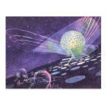 Vintage Science Fiction Glowing Orb with Aliens Postcard