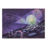 Vintage Science Fiction Glowing Orb with Aliens Posters