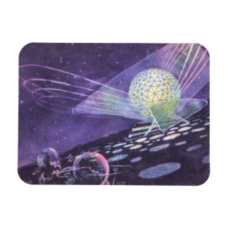 Vintage Science Fiction Glowing Orb with Aliens Vinyl Magnet