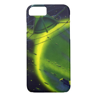 Vintage Science Fiction Green Planet w Spaceship iPhone 7 Case
