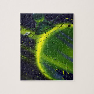 Vintage Science Fiction Green Planet w Spaceship Jigsaw Puzzle