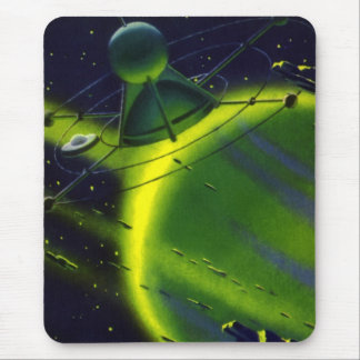 Vintage Science Fiction Green Planet w Spaceship Mouse Pad