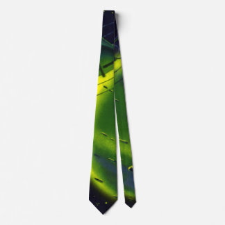 Vintage Science Fiction Green Planet w Spaceship Neck Tie