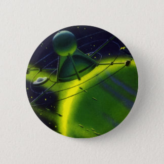 Vintage Science Fiction Green Planet w Spaceship Pinback Button