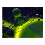 Vintage Science Fiction Green Planet w Spaceship Post Card