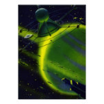 Vintage Science Fiction Green Planet w Spaceship Poster