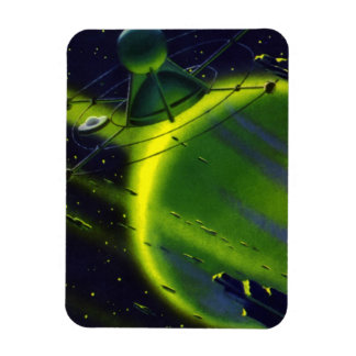 Vintage Science Fiction Green Planet w Spaceship Rectangular Photo Magnet