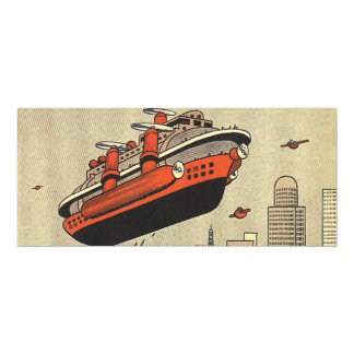 "Vintage Science Fiction Helicopter Cruise Ship 4"" X 9.25"" Invitation Card"