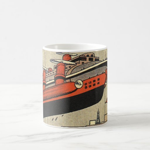 Vintage Science Fiction Helicopter Cruise Ship Coffee Mug