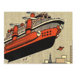 Vintage Science Fiction Helicopter Cruise Ship Postcard