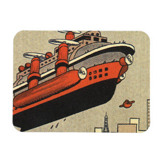 Vintage Science Fiction Helicopter Cruise Ship Rectangular Photo Magnet