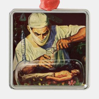 Vintage Science Fiction, Laboratory Mad Scientist Metal Ornament