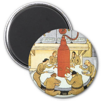 Vintage Science Fiction, Labratory Scientists Eat 2 Inch Round Magnet