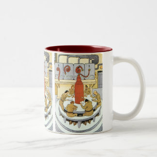 Vintage Science Fiction, Labratory Scientists Eat Two-Tone Coffee Mug