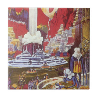 Vintage Science Fiction, Lost City of Atlantis Small Square Tile