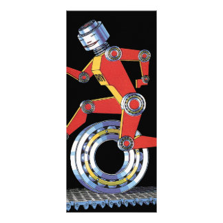 Vintage Science Fiction Machine Man Robot Running Personalized Rack Card