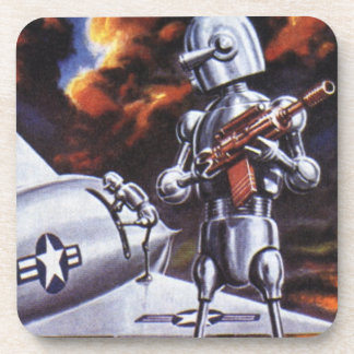 Vintage Science Fiction Military Robot Soldiers Coasters