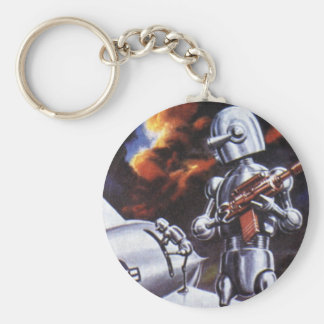 Vintage Science Fiction Military Robot Soldiers Key Chain