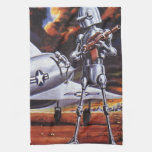 Vintage Science Fiction; Military Robot Soldiers Towels