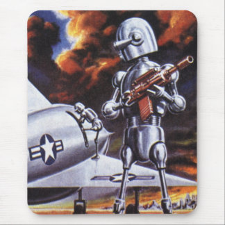 Vintage Science Fiction Military Robot Soldiers Mouse Pad