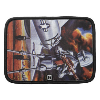 Vintage Science Fiction Military Robot Soldiers Folio Planner