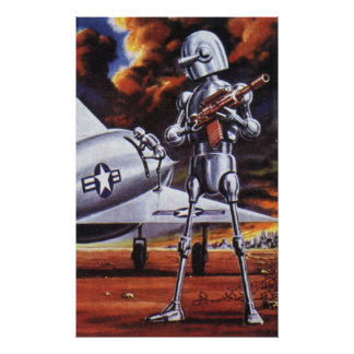 Vintage Science Fiction Military Robot Soldiers Poster