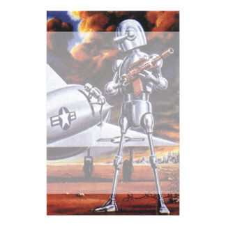 Vintage Science Fiction Military Robot Soldiers Stationery