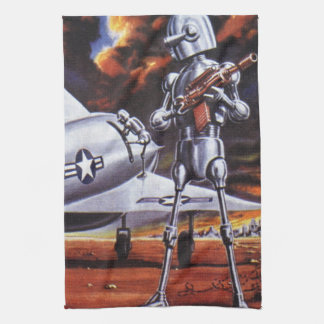 Vintage Science Fiction Military Robot Soldiers Towel