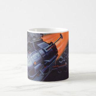 Vintage Science Fiction, Moon Rocket Blasting Off Classic White Coffee Mug