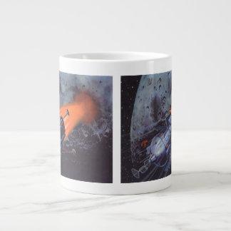 Vintage Science Fiction, Moon Rocket Blasting Off Giant Coffee Mug