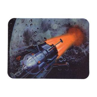 Vintage Science Fiction, Moon Rocket Blasting Off Magnet