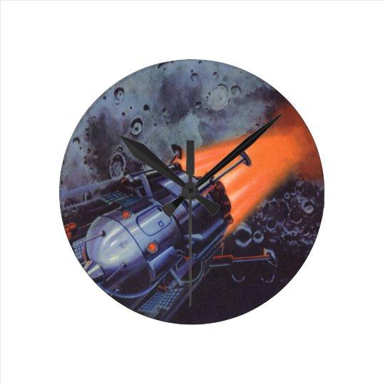 Vintage Science Fiction, Moon Rocket Blasting Off Round Clock