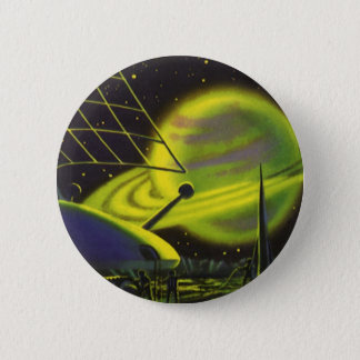 Vintage Science Fiction Neon Green Planet w Rings Button