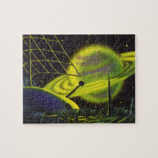 Vintage Science Fiction Neon Green Planet w Rings Jigsaw Puzzle