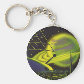 Vintage Science Fiction Neon Green Planet w Rings Keychain