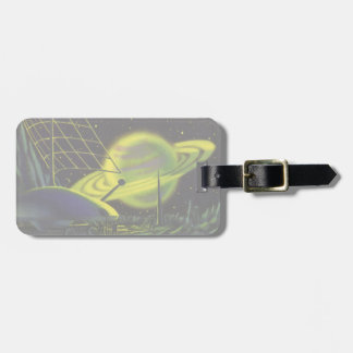 Vintage Science Fiction Neon Green Planet w Rings Luggage Tag